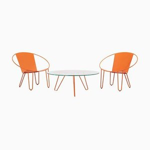 Lounge Chairs and Coffee Table in Burnt Orange by Gary Snyder, 2020, Set of 3