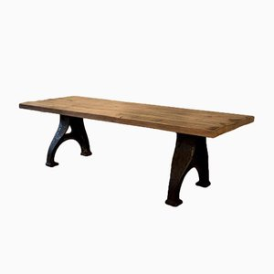 Heavy Oak Table and Bench, Set of 2