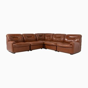 Vintage Brown Leather Modular Seats from Walter Knoll Collection, Set of 5