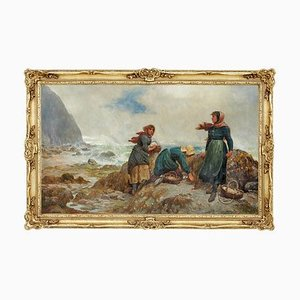 19th-Century Oil Painting of Yorkshire Flither Pickers by Robert Farren