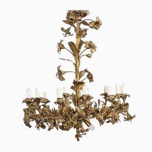 Lampadario floreale in bronzo rococò