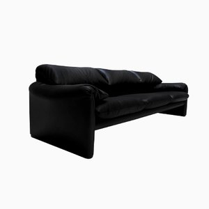 Black Leather Maralunga Sofa by Vico Magistretti for Cassina