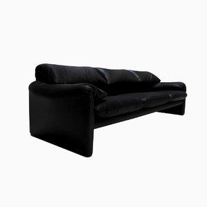 Schwarzes Maralunga Sofa aus Leder von Vico Magistretti für Cassina