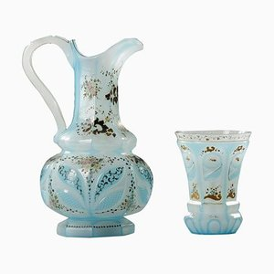 Blue Opaline Ewer and Cup, 19th Century, Set of 2