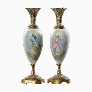Porcelain and Bronze Cloisonné Vase, 19th Century, Set of 2
