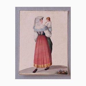 Michela De Vito, Costume of Ischia, Ink and Watercolor, 1830s