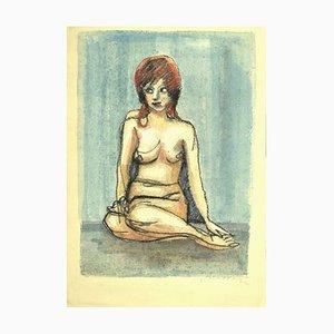 Mino Maccari, Akt, Pastell und Aquarell Zeichnung, 1980