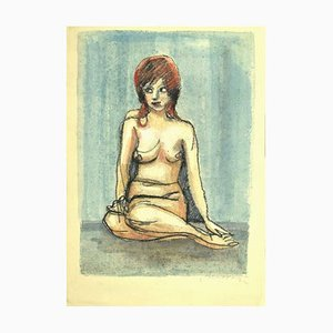 Mino Maccari, Nude, Pastel and Watercolor Drawing, 1980