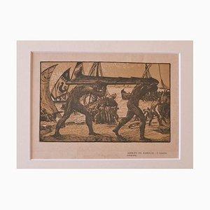 Adolfo De Karolis, The Rudder, Holzschnitt, 1925er