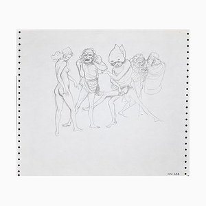 Leo Guida, Masquerade, Pencil Drawing, Mid-20th-Century