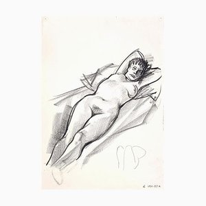 Leo Guida, Female Nude, Charcoal Drawing, 1970s