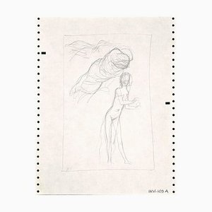 Leo Guida, Figure Sketch, Pencil Drawing, 1970s