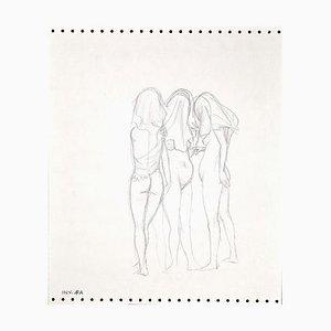 Leo Guida, Three Nude Figures, Pencil Drawing, 1970s