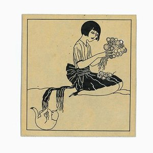 Bruno Angoletta, Girl with Flowers, Chinese Ink Drawing, 1915