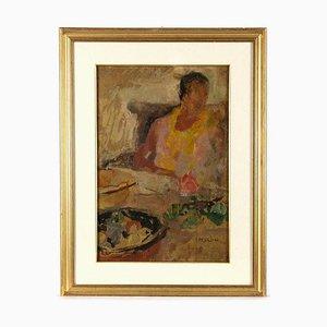 Guido Peyron, retrato de mujer y naturaleza muerta, óleo sobre lienzo, años 40