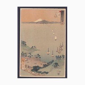 Utagawa Hiroshige, Arai Station, Holzschnitt, 1855