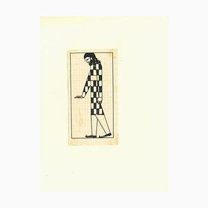 Bruno Angoletta, Figure 1920, Chinese Ink Drawing, 1920