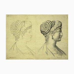 Scultura Annibale Carracci, ritratti di donne, incisione, XVII secolo