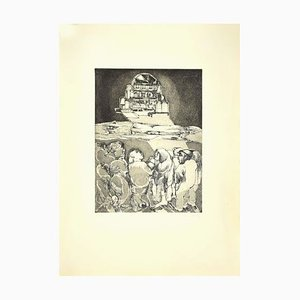 Spaceship and Figures, Etching, Late 20th-Century
