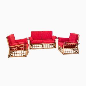 Bamboo Sofa & Lounge Chairs, 1970s, Set of 3