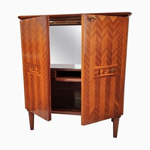 Italian Walnut Veneer and Mirror Dry Bar Cabinet, 1960s