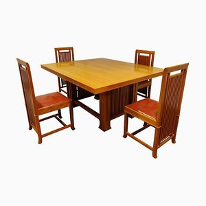 Dining Set by Frank Lloyd Wright for Cassina, 1992, Set of 5