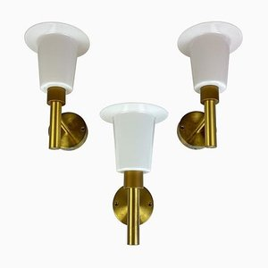 Mid-Century Wall-Mounted Brass and Acrylic Lamps from Luxus, Sweden, 1960s, Set of 3