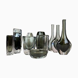 Mid-Century Vases by Nils Landberg for Orrefors, Sweden, Set of 12