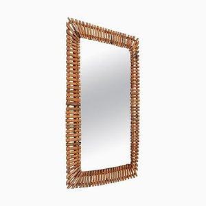 Miroir Rectangulaire en Bambou et Rotin, Italie, 1950s