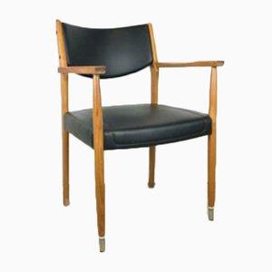 Vintage Chair in Teak with Black Vinyl Leather
