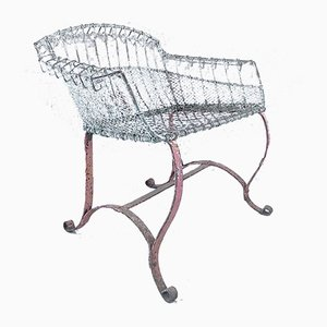 Wirework Garden Seat with Scroll Wrought Iron Feet, 1920s