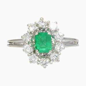 French Emerald Diamonds 18 Karat White Gold Daisy Ring, 1960s