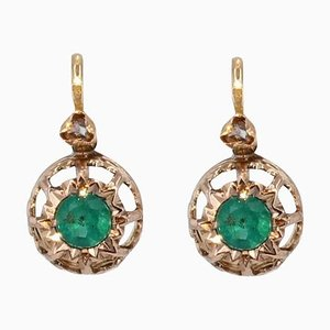 French 19th Century Emerald Diamonds 18 Karat Rose Gold Lever Back Earrings, Set of 2