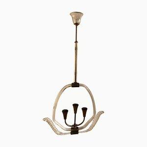 Italian Art Deco Murano Glass Ceiling Lamp from Barovier & Toso, 1940s