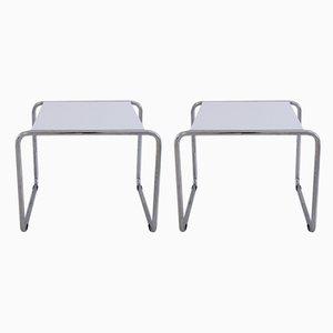 Italian Bauhaus Tubular Steel Side Tables by Marcel Breuer, 1990s, Set of 2