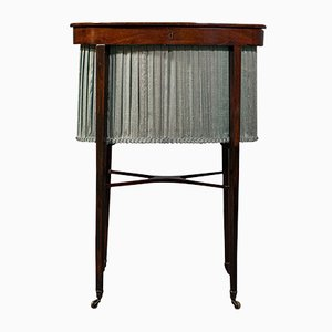 Antique English Regency Mahogany & Silk Cotton Sewing Table, 1820s