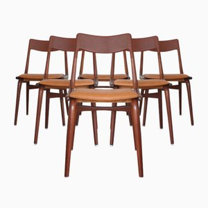 Teak Boomerang Dining Chairs by Alfred Christensen for Slagelse, 1950s, Set of 6