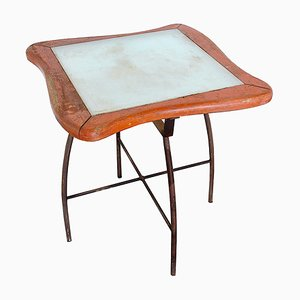 Wooden Garden Tables with Frosted Glass Tops, 1960s, Set of 2