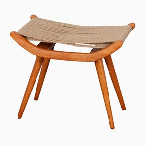 Czech Wooden Stool with Cord Seat from Uluv, 1960s
