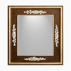 Vintage Tralci Di Rose Mirror in Porcelain & Wood Frame with Floral Decoration by Giulio Tucci