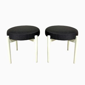 Mid-Century Scandinavian Wooden Stools, Set of 2
