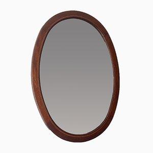 Vintage Oval Bevelled Wood Mirror