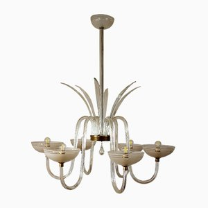 Large Blown Murano Glass Chandelier, 1940s
