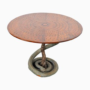 Game Table with Plaster Sculpture of a Python with Bronze Scales