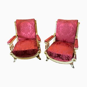 Sicilian Louis Philippe Lacquered & Gilded Wood Armchairs, Set of 2