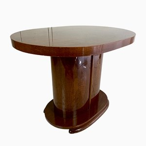 Art Deco Oval-Shaped Mahogany Side Table or Coffee Table