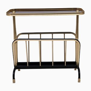 Small Italian Brass Side Table / Magazine Rack, 1970s