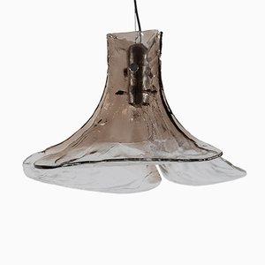 Lampada a sospensione grande vintage in vetro di Murano di Carlo Nason per Mazzega