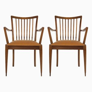Teak and Leatherette Armchairs, 1960s, Set of 2