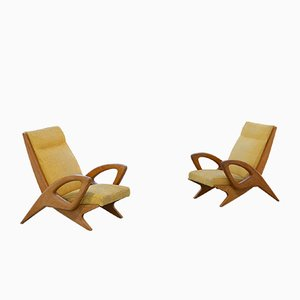 Sculptural French Lounge Chair in Elm Circa 1960 Paris France Mid-Century Modern by Pierre Chapo, Set of 2
